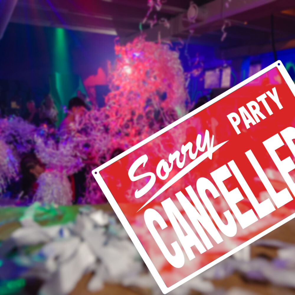 Crowd of kids on disco party with cancelled sign to maintain social distance, precautions during a pandemic, fighting covid virus, social distancing.