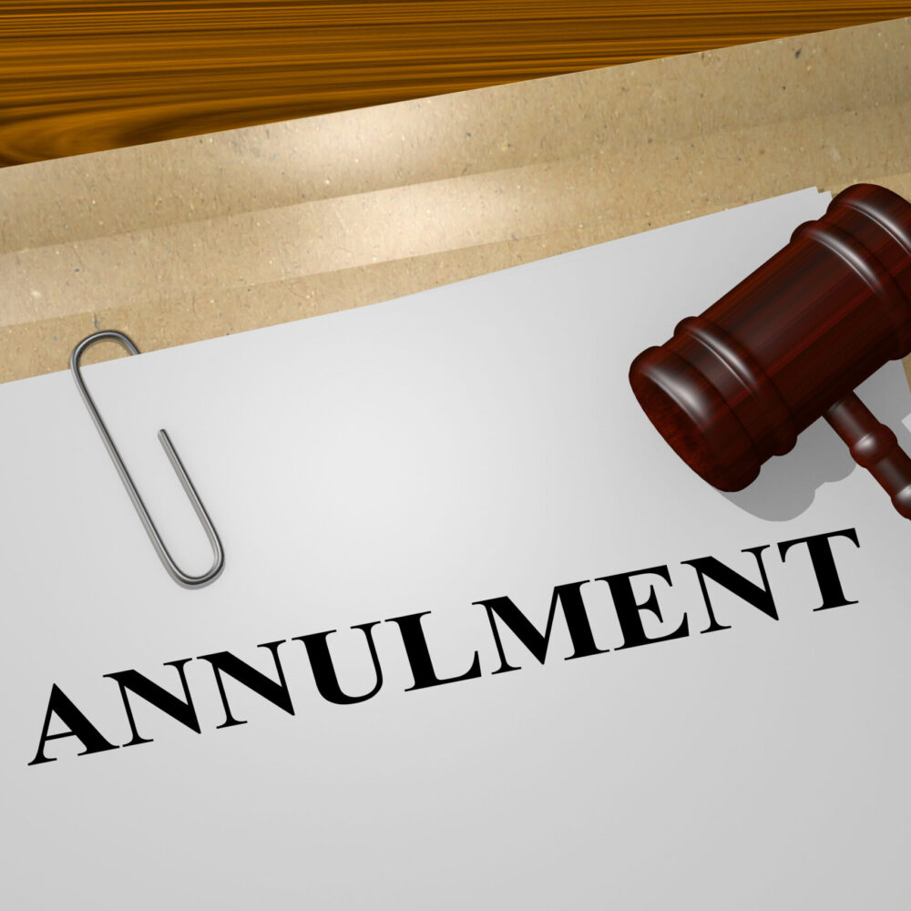"""3D illustration of """"ANNULMENT"""" title on legal document"""